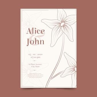 Hochzeitskartenschablone mit einer großen blume