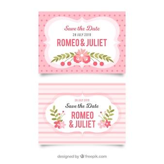 Hochzeitskartenschablone mit flachen blumen