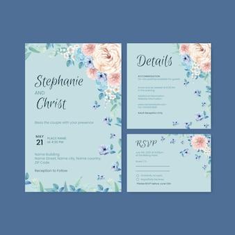 Hochzeitskartenschablone mit friedlichem konzept der blauen blume, aquarellart