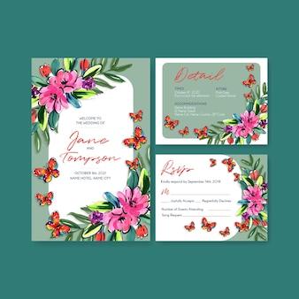 Hochzeitskartenschablone mit konzeptentwurf der pinselblumen für einladung und heiraten aquarell