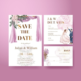 Hochzeitskartenschablone mit lila violettem hochzeitskonzept, aquarellart
