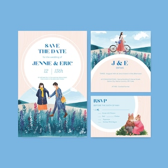 Hochzeitskartenschablone mit paradiesliebeskonzeptentwurf für einladungsaquarellillustration