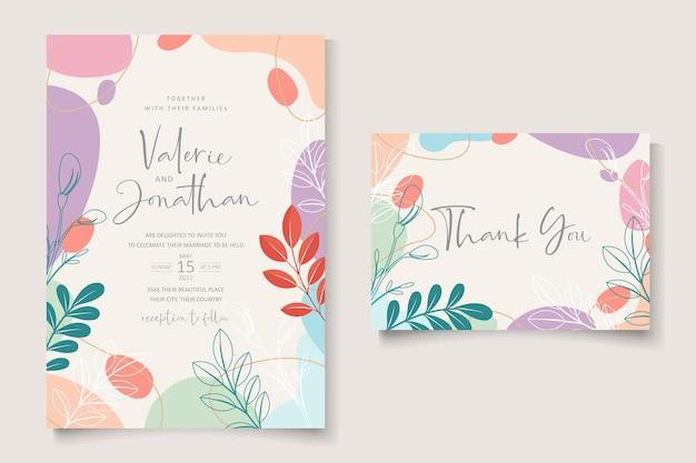 Hochzeitskartenschablone mit pastellfarbenem hintergrunddesign Premium Vektoren