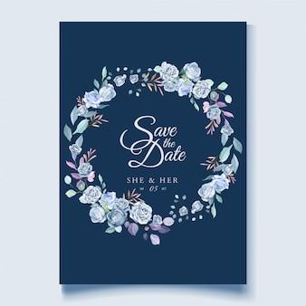 Hochzeitskartenschablone mit schönem blauem blumenkranz