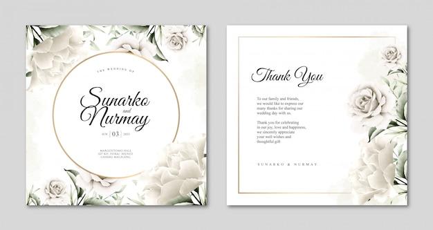 Hochzeitskartenschablone mit schönem blumenaquarell