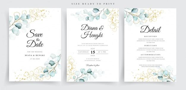 Hochzeitskartenschablone mit schönem weichem eukalyptus
