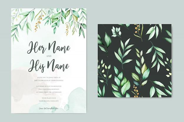Hochzeitskartenschablone mit schönen aquarellblättern