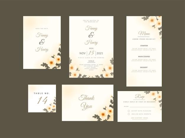 Hochzeitskartenset mit schönem design.