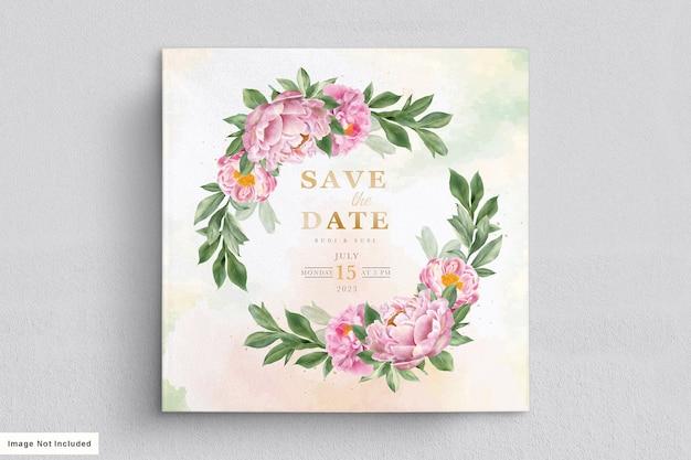 Hochzeitskartenset mit schönen blumen und blättern