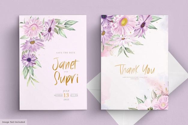 Hochzeitskartenset mit weicher chrysanthemenblume