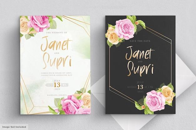 Hochzeitskartenset mit zarten rosa rosen