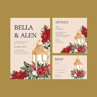Hochzeitskartenvorlage mit rotem marinehochzeitskonzept, aquarellart