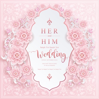 Hochzeitskartenvorlagen für hochzeitseinladung mit und kristalle auf papierfarbe hintergrund.