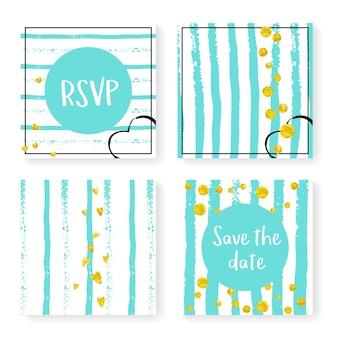 Hochzeitskonfetti mit streifen. einladungsset. goldherzen und -punkte auf tadellosem und weißem hintergrund. vorlage mit hochzeitskonfetti für party, event, brautparty, save the date karte.