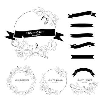 Hochzeitskränze. handgezeichnetes lbotanisches element, design für einladung, hochzeit oder grußkarten