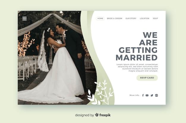 Hochzeitslandungsseitenschablone mit foto