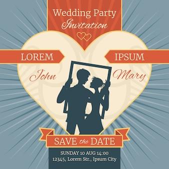 Hochzeitsliebe-einladungskarte mit glücklichem paar im rahmen. vektor vorlage