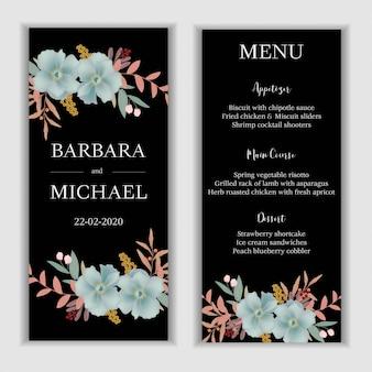 Hochzeitsmenü-kartenschablone mit blauer blumendekoration