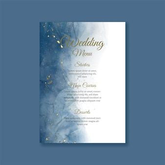 Hochzeitsmenü mit handgemaltem aquarelldesign mit goldglitter