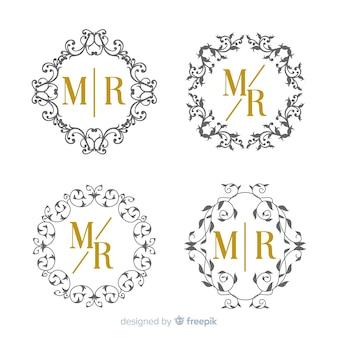 Hochzeitsmonogramm-sammlungsschablone
