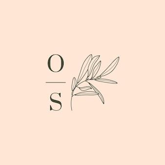 Hochzeitsmonogramm und logo mit olivenzweig im modernen minimalistischen liner-stil. vektor-blumenvorlage für einladungskarten, save the date. botanische rustikale illustration