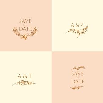 Hochzeitsmonogramme in pastellfarben und save the date