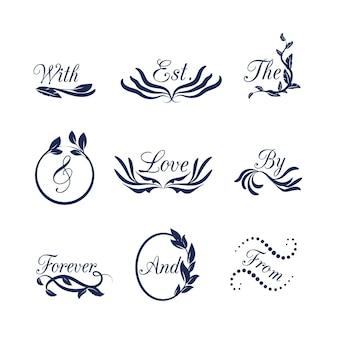 Hochzeitsornamente mit verschiedenen texten