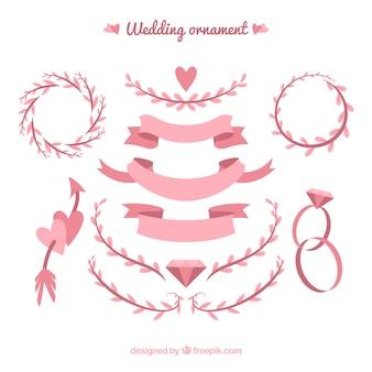 Hochzeitsornamentsansammlung mit bändern und blättern