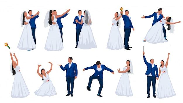 Hochzeitspaar eingestellt