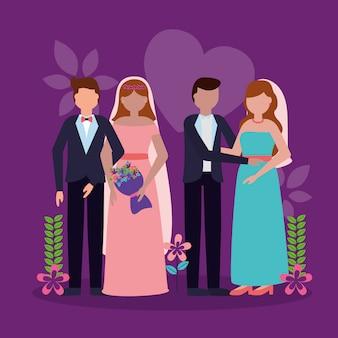 Hochzeitspaar im flachen stil