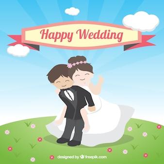 Hochzeitspaar in einer lustigen haltung