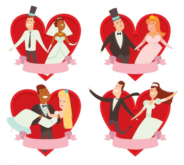 Hochzeitspaar-karikatur-artillustration