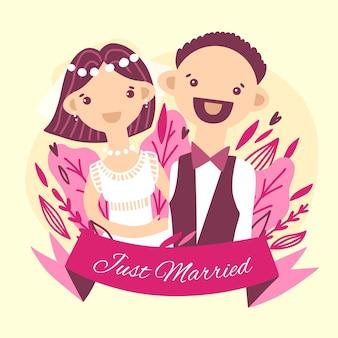 Hochzeitspaar mit bräutigam und niedlicher fliege