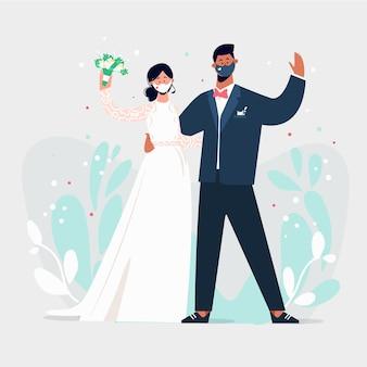 Hochzeitspaar trägt gesichtsmasken