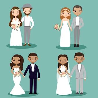 Hochzeitspaar-zeichentrickfilm-figur-sammlung