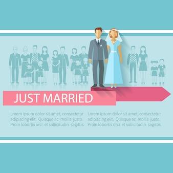 Hochzeitsplakat mit ebener vektorillustration des gerade verheirateten paars und der erweiterten familiengäste
