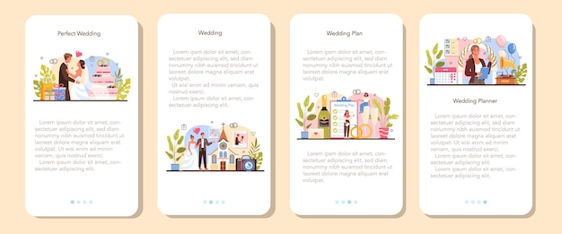 Hochzeitsplaner mobile anwendung banner-set. professioneller veranstalter