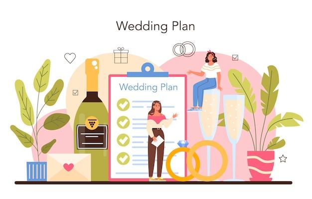Hochzeitsplaner professioneller organisator, der hochzeitsveranstaltung plant