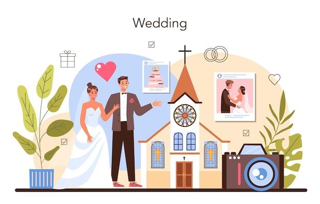 Hochzeitsplaner. professioneller veranstalter, der eine hochzeitsveranstaltung plant. hochzeitskoordination von braut und verlobter, hochzeitsplan. flache vektorillustration