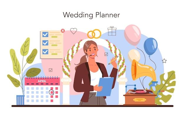 Hochzeitsplaner. professioneller veranstalter, der eine hochzeitsveranstaltung plant.