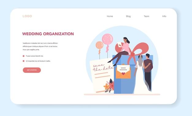 Hochzeitsplaner web banner oder landing page. professioneller organisator, der hochzeitsveranstaltung plant.