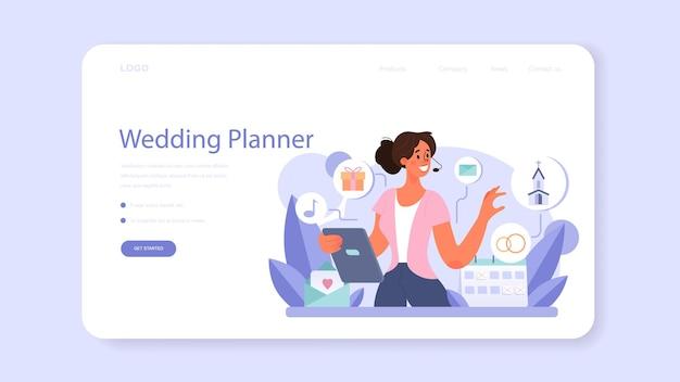 Hochzeitsplaner-webbanner oder landingpage. professioneller veranstalter, der eine hochzeitsveranstaltung plant. koordination der eheschließung von braut und verlobter. flache vektorillustration