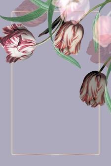Hochzeitsrahmen mit tulpenrand auf lila hintergrund