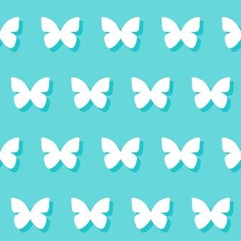 Hochzeitsromantischer dekorativer nahtloser musterhintergrund mit karikaturschmetterling lokalisiert auf stilvollem blauem hintergrund