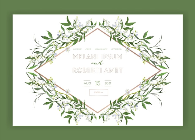 Hochzeitssalon-internet-shop-blumen-landing-page-vorlage. spring sale banner webseite website mit blumen. hochzeitseinladung romantisches design. vektor-illustration