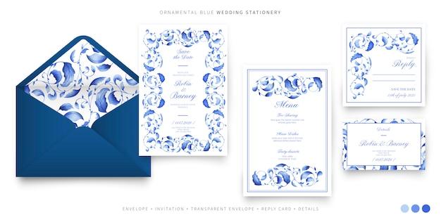 Hochzeitssatz mit dekorativen blauen blättern