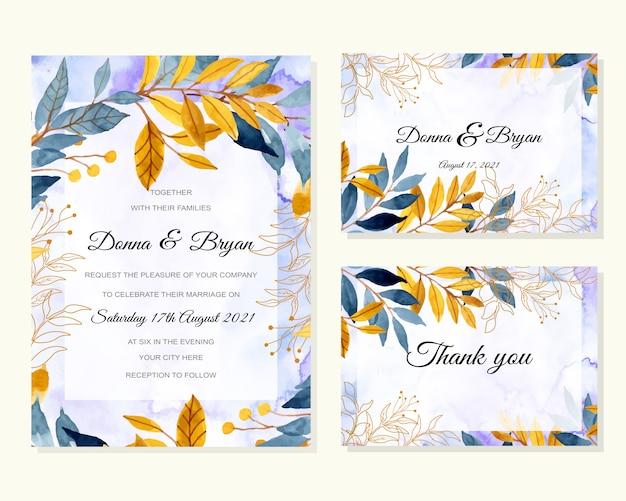 Hochzeitsschablone mit dem abstrakten hintergrund des blauen gelben blattaquarells