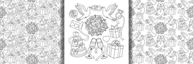 Hochzeitsset und nahtlose muster