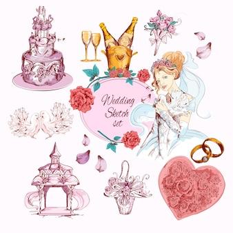 Hochzeitsskizze gefärbt
