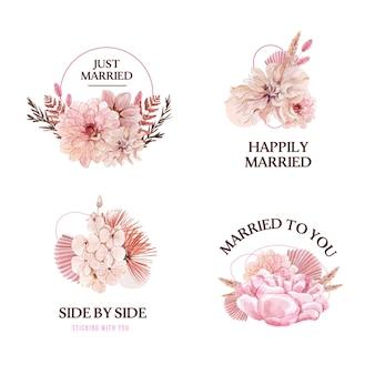 Hochzeitsstrauß-arrangement im aquarellstil